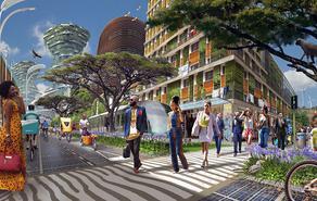 """•照片,报告封面和本页:卡尔·舒尔申克(Karl Schulschenk)和布莱克·罗宾逊(Blake Robinson)改编的图像""""化石后非洲城市的愿景""""。 原始图片是在后化石城市竞赛中获得前十名的系列的一部分,"""